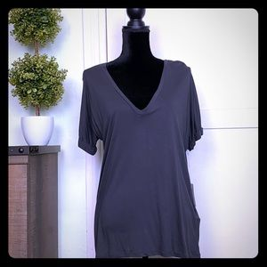 NWT, Deep V-neck Knit Top, Charcoal, S